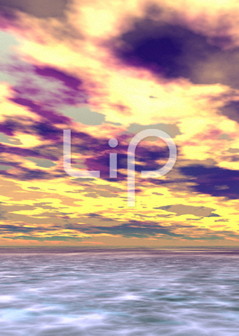浅瀬と明るい紫の雲