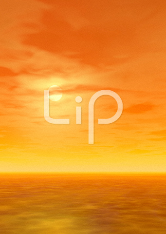 浅瀬とオレンジの空と太陽