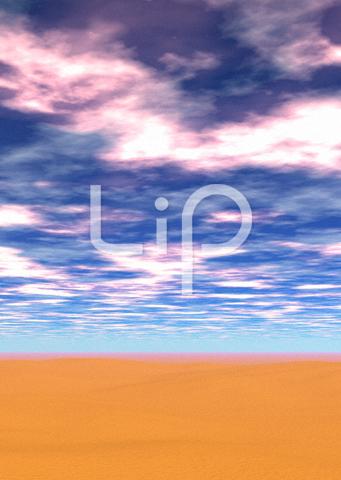 砂漠と赤い雲