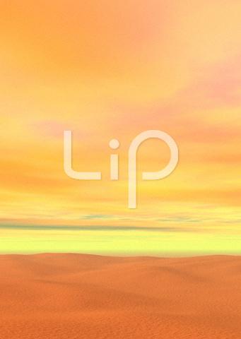 砂漠と黄色い空と雲