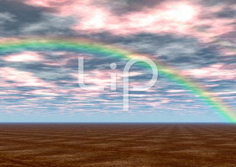 荒野と赤い雲と虹