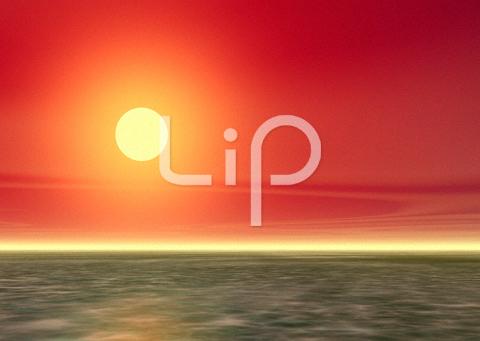 浅瀬と真っ赤な空と太陽