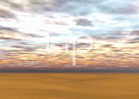 砂漠と朝焼け雲