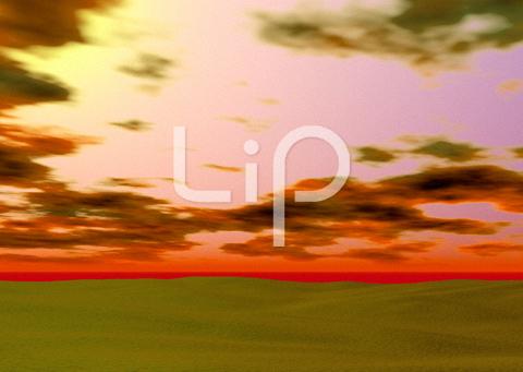 砂漠と夕焼けと雲