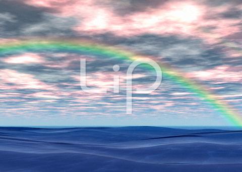 荒波と赤い雲と虹